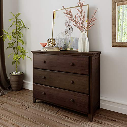Max & Lily Solid Wood 3-Drawer Dresser, Espresso