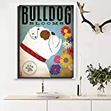 yaoxingfu Sin Marco Sin Marco Bulldog Oil ng Print Cute Family Kid Pet Bulldog Wall Art Oil ng 60x90cm