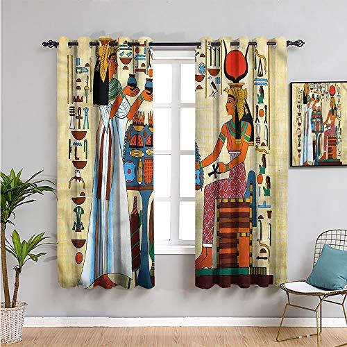 Cortina de ventana retro negra con 2 paneles, cortinas de 213 cm de largo, historia egipcia antigua, fácil de limpiar, 250 cm de ancho x 200 cm de largo.
