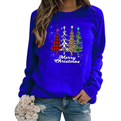 Sudadera Navidad Mujer Jersey Arbol Navideño Feo Sudaderas Navideñas Mujer Divertido Pullover Navidad Ugly Jerseys Navideños Adolescente Chica Sudadera Navideña Talla Grande Sueter Navideño Azul XL