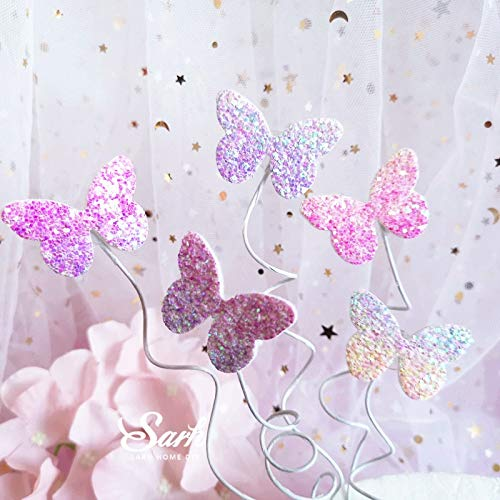 Cake Topper Biling Colourful Laser Butterfly Happy Birthday Cake Topper Dessert Decoration For Birthday Party Lovely Gifts Amazon Com Grocery Gourmet Food