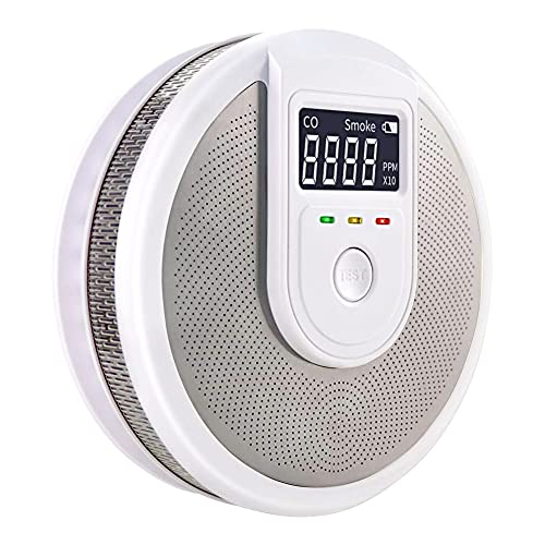 Smoke and Carbon Combination Carbon Monoxide and Smoke Detector CO Detector, Monoxide Detector Combo with Sound Warning and LCD Display Battery Operated Smoke CO Alarm