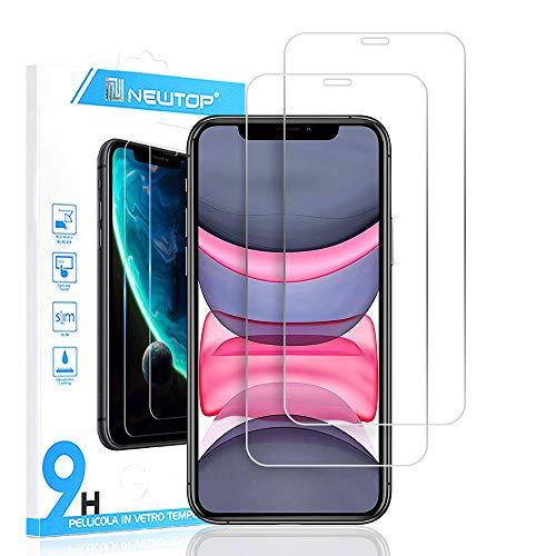 N NEWTOP [2 PEZZI] Pellicola Compatibile con iPhone 11 e XR, GLASS FILM 0.3mm 9H Vetro Temperato Proteggi Schermo Display Anti Urto Protezione