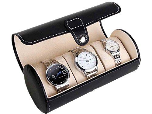 gardenlightess 腕時計 収納ケース ボックス コレクションケース 持ち運び レザー 3本用 ブラック