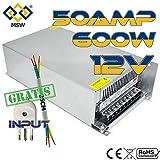 MSW Alimentatore 50amp 600W Trasformatore Stabilizzato con Trimmer in 220V out 12V Amp con Spina e Cavo in Omaggio 50A 50Amp 50 A 50 Amp