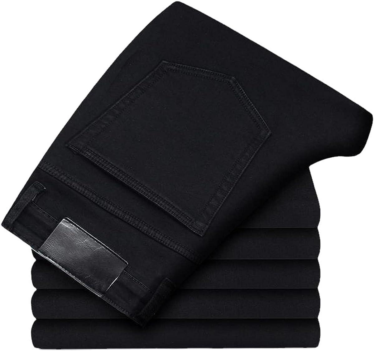 CACLSL Men's Jeans Autumn Denim Trousers Slim Straight Dark Blue Regular-fit Casual Trousers