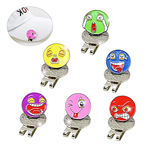 Golf Hat Clip,Golf Cap Clip with Unique Colorful Expression Ball Marker,Fit Easily to Hat Belts Pockets,Gift for Women Men Kids Pack of 6