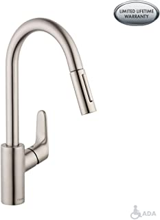 hansgrohe Focus Premium 1-Handle 16-inch Tall Stainless Steel Kitchen Faucet with Pull Down Sprayer Magnetic Docking Spray Head in Steel Optic, 04505800