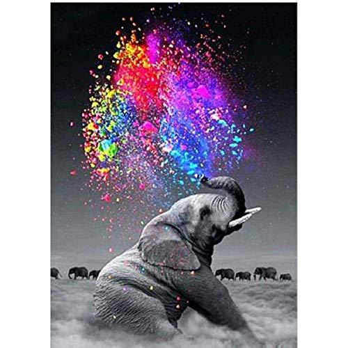 WZZPSD Puzzle 1000 Pezzi Elefante del Modello Animale E Modello Colorato di Arte dell'Acqua Salotto Puzzle in Legno Fai da Te Stile Regalo per La Casa