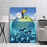 Pintura en Lienzo La Tierra Claro Azul Claro Mar Arte de la Pared Impresión del Cartel Decoración para el hogar Moderna Sala de Estar Cuadros modulares 50x70cm-Sin Marco