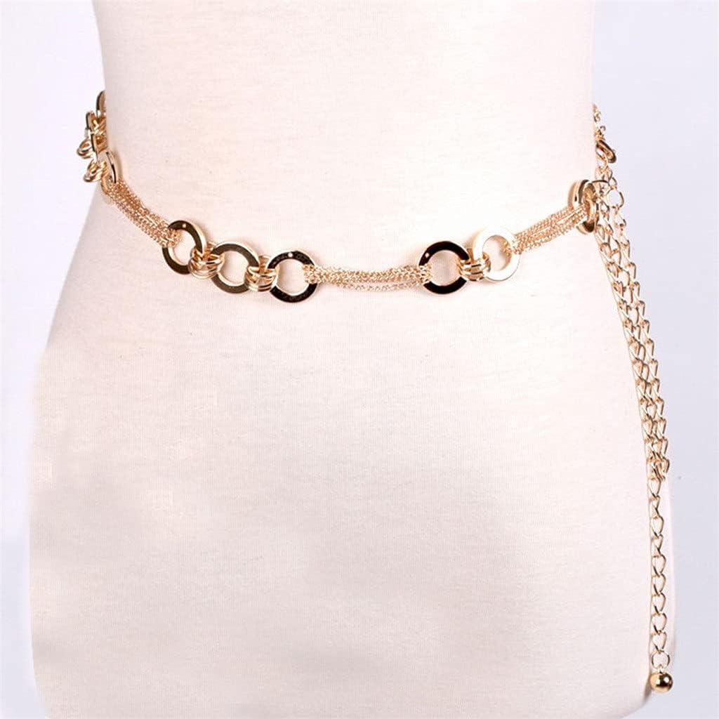 XJJZS Ladies Fashion Metal Belt Chain Golden Belt Body Chain Necklace Dress Accessories (Color : A, Size : As Shown)