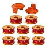 Kaimeilai Fili tagliabordi, filo di ricambio per tutti i decespugliatori, bobina di ricambio durevole per una migliore velocità di taglio – Ø 1,65 mm (8 bobine + 2 cappuccio)