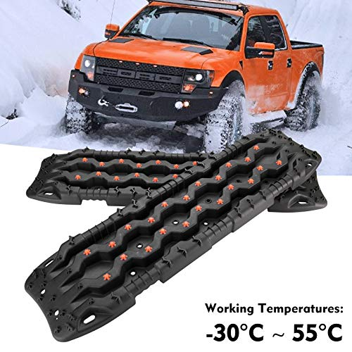 FieryRed Recovery Traction Boards - 2 Pcs Off-Road Traction Mat for Sand Mud Snow Track Tire Ladder 4X4 - Traction Boards, Black
