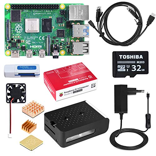 DINOKA Raspberry Pi 4 Starter Kit con Micro SD de 32GB Clase 10, 5V 2.5A Adaptador de Corriente con Interruptor, 3 Radiadores, Cable HDMI, Caja de Calidad, Lector de Tarjetas, Retículo (4GB RAM)