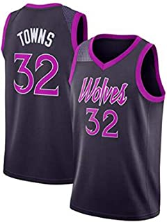 YB-DB Baloncesto Jersey Hombres Karl-Anthony Towns # 32 - Minnesota Timberwolves Nueva Jersey Tela Bordada Deportes Top,Negro,2XL (185~190cm)