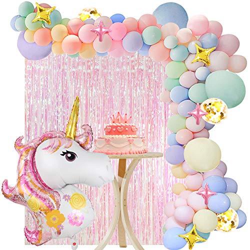 vamei 136 Piezas Unicornio Decoraciones Cumpleaños de Fiesta para Niños, Globos de Unicornio Cumpleaños,Cortina de Fiesta, Globo de Cumpleaños Individuación para Niños Niñas