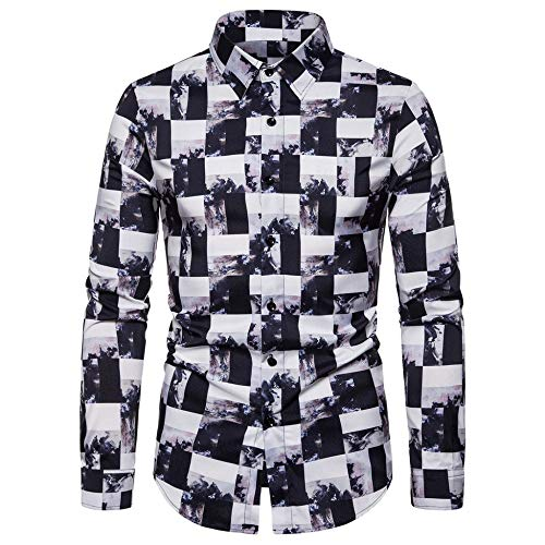 YFSLC-Studio Chemise Homme Manches Longues,Fashion Men's Shirt Casual Automne Confort d'impression 3D Robe Chemisier d'affaires Confortable À Porter Streetwear Tops,L