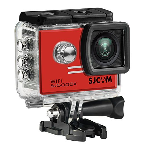 16GB TF Card+SJCAM SJ5000X Elite Sports Action Camera Ultra-HD 2.0 Inch LTPS WiFi 4K 24fps Sport DV 2.0 LCD NTK96660 Diving 30m Waterproof Action Camera+1pcs Battery Charger+1pcs Extra Battery(Red)