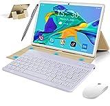 Tablet 10.1 Zoll 4G Android 9.0 Dual SIM, 2 in1 Tablet mit Tastatur 4 GB RAM und 64 GB ROM, Quad Core Prozessor, 1080p Full HD, WiFi, Bluetooth, GPS, OTG, Typ C