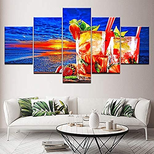 Suwhao Canvas Art Modulaire muur 5 Panel Zonsondergang Poster Fruit Thee Foto's voor Woonkamer Print Schilderijen Keuken Decor Artwork