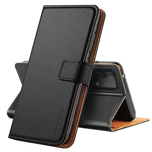 Hianjoo Funda Compatible con Samsung Galaxy A52 5G, Suave PU Cuero Carcasa con Flip Case Cover, Cierre Magnético,Función Soporte,Billetera con Tapa Tarjetas Compatible con Samsung Galaxy A52 5G, Negro