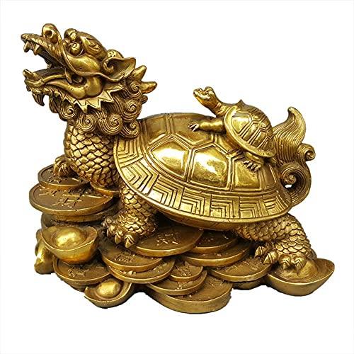 Feng Shui Dragon Turtle Decoration, Wealth Protection Gossip Dragon Head Turtle Statue Figurine Paperweights Home Decor, Best Housewarming Congratulatory Decor,12cm
