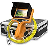 Sewer Camera HD Pipe Inspection Camera with Distance Counter DVR Video System IP68 Waterproof Plumbing Snake Drain Sewer Camera Drain Duct Pipe Camera 7'TFT Monitor 30M/100ft(8GB SD Card Include)