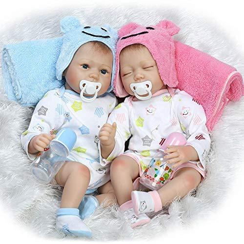 LFFDOLL Reborn Baby Boy Girl Dolls, Muñecas gemelas de Silicona Suaves realistas y Hechas a Mano, muñeca Realista para Regalo de cumpleaños para niños, 55 cm,C