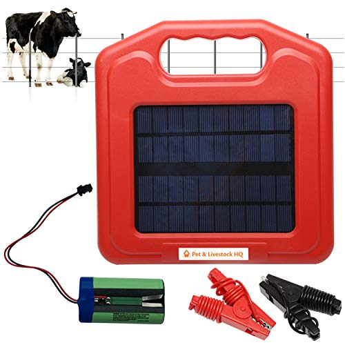 Solar Powered Fence Charger (w/Sign) Energizer Panel, 0.1 Joule Electric Power & Battery Shock Storage for 2-Miles of Pasture Fencing to Protect Livestock, Horses, Cattle, Pet, Dog, Sheep, Pig, Goats