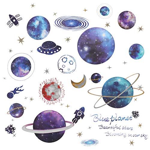 TOYANDONA Planeten Muurstickers Ster Maan Planeten Patroon Muur Plafond Sticker Verwijderbare Schil en Plak Vinyl Voor Raam Babykamer Klas