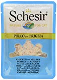 Schesir Cat in Brühe Huhn mit Seebarbe, Katzenfutter nass in eigener Kochbrühe, 20 Beutel x 70 g