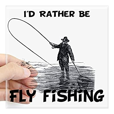 "CafePress - Fly Fishing Square Sticker 3"" X 3 - Square Bumper Sticker Car Decal, 3""x3"" (Small) or 5""x5"" (Large) by CafePress"