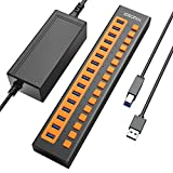 iDsonix USB 3.0 Hub, 16-Port 12V / 6.5A Powered USB Hub BC1.2 (5V2.4A) Fast Charge 5Gbps High Speed Transfer with Individual Switches Aluminum Alloy USB Splitter for Laptop, PC, HDD, SSD and More