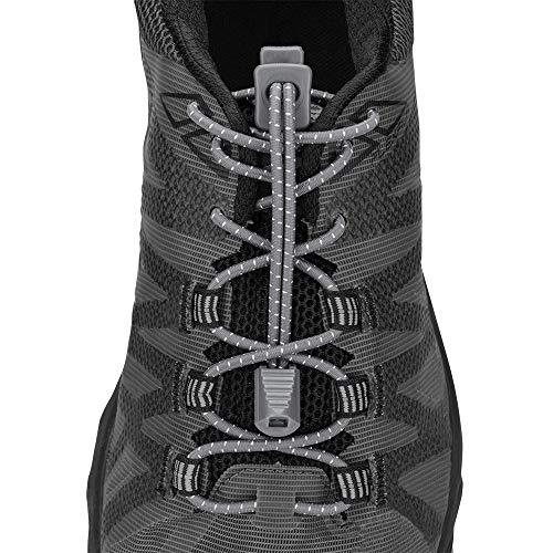 Nathan Run Lacets – Lacets sans Lacets avec Ajustement Universel pour la Course, Le Sport, Les athlètes, Les Enfants, Les Personnes âgées et Plus Taille Unique Gris