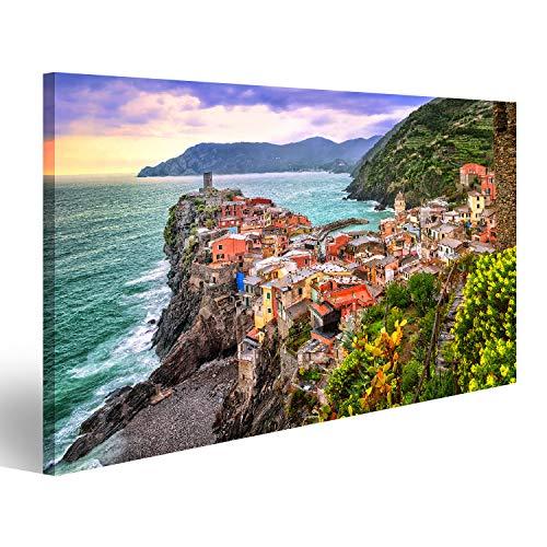 islandburner Bild auf Acrylglas Vernazza in Cinque Terre, Ligurien, Italien, auf Sonnenuntergang Wandbild Acrylglasbild Glasbild UHL