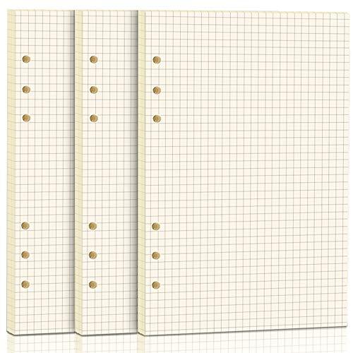 3 Packungen A5 Papier Kariert, FANDAMEI 6 Löcher 135 Blätter A5 Nachfüllpapier Nachfüllbare Refill Paper Nachfülleinlagen für A5 Notizbuch, Tagbuch, Skizze, Malerei