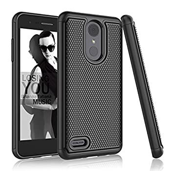 Njjex Compatible with LG Aristo 2/Aristo 3+ Plus/LG Phoenix 4/Rebel 4 LTE/Tribute Empire/Tribute Dynasty/Zone 4/Fortune 2/Rebel 3 Case [Nveins] Hybrid Dual Layers Plastic Shell Rubber Cover [Black]