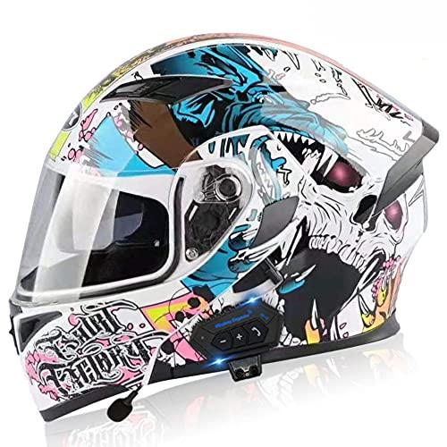Casco Bluetooth Moto Modular con un Micrófono Incorporado en los Altavoces Doble Visera ECE/Dot Homologado Full Face Racing Motorcycle Helmet M~XXL(57~63CM)