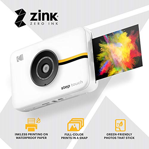 Kodak Step Touch   13MP Digital Camera & Instant Printer with 3.5 LCD Touchscreen Display, 1080p HD Video - Editing Suite, Bluetooth & Zink Zero Ink Technology   White