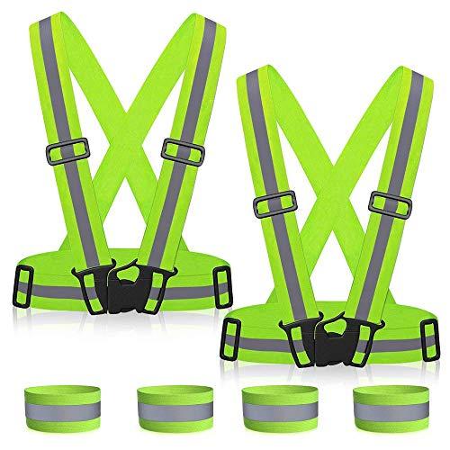 ZWOOS Seguridad Chaleco Reflectante Set + Dos Bandas, Ajustable Alta Visibilidad Elastic Reflector Chaleco para Correr, Senderismo, Ciclismo, Carreras, Motorista (2 x Chaleco + 4 x Brazaletes)