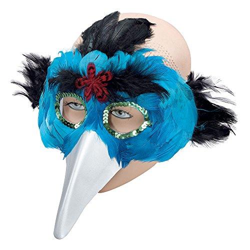 Bristol Novelty Novelty-EM078 EM078 Masque d'Oiseau avec Plumes et Bec, Women, Turquoise, Taille Unique