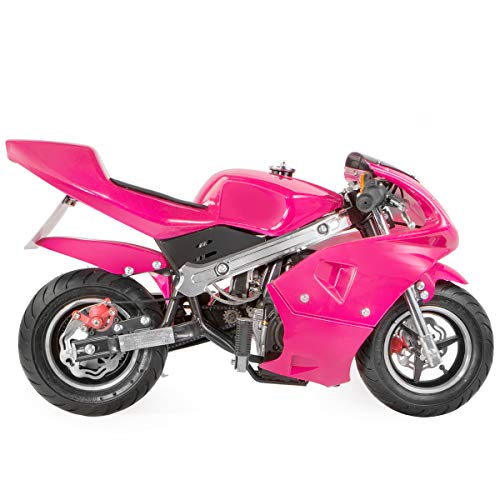 XtremepowerUS 40CC Mini Pocket Bike Motorcycle Gasoline Mini Motorcycle 40cc 4-Stroke Engine EPA, Pink