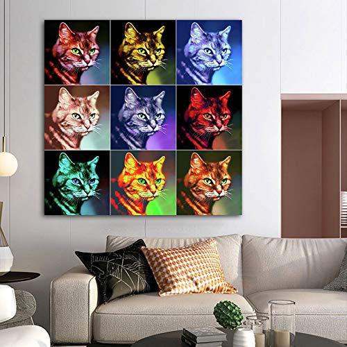 Colorido caballo animal cuadro lienzo pintura mural sala de estar dormitorio decoración moderna cartel sin marco 20x20 cm