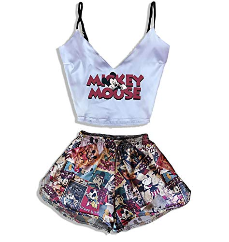 Mickey Mouse Print Pajamas for Girls Women Teen Sleepwear Best Silk Gifts for Her Girlfriend Funny Gifts Luxury Sexy PJ