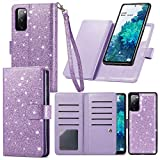 Varikke Samsung S20 FE Case Wallet, Case for Samsung S20 FE 5G with 9 Card Holders & Magnetic Detachable Cover & Kickstand & Lanyard Strap Glitter PU Leather Folio Flip Case for Galaxy S20 FE, Purple