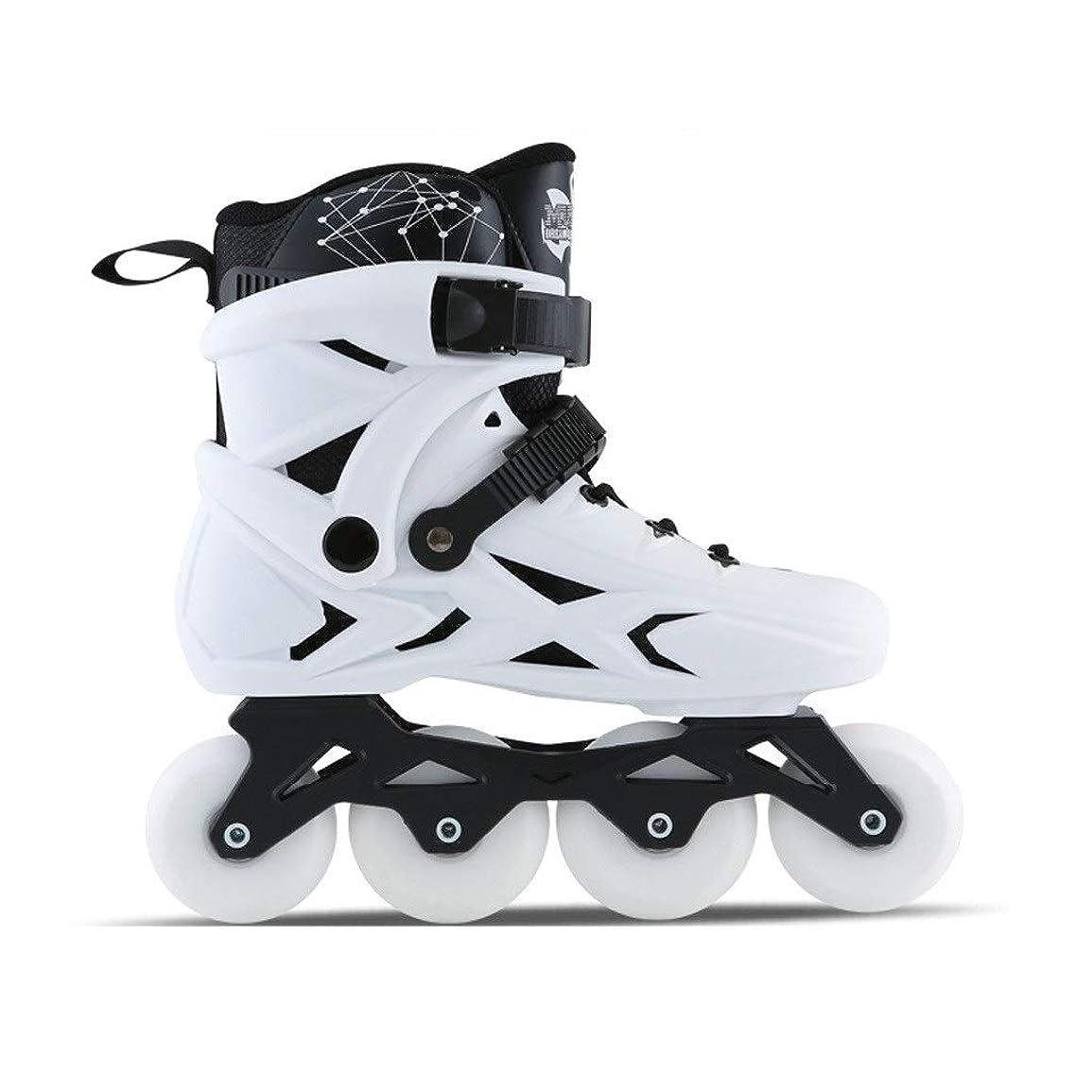 北前部参照Ailj インラインスケート 男性と女性のためのインラインスケート、初心者フラッシュ単一行スケート、サイズ35-45白黒 高構成プロスケート靴 (Color : White, Size : EU 43/US 10/UK 9/JP 26.5cm)