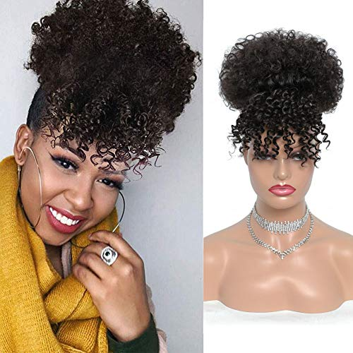 G&T Wig Afro High Puff Hair Bun Drawstring Ponytail With Bangs Short Kinky Curly Pineapple Pony Tail Clip in on Wrap Updo Hair Extensions for Black Women (2#)