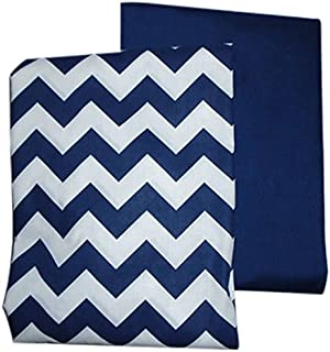 Baby Doll Bedding Chevron and Solid Color Fitted Crib/Toddler Bed Sheet Set, Navy 2 Pk