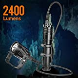 ORCATORCH D611 Cree XPH70 LED 2400 Lumens Primary Canister Dive Light Technical Diving Flashlight, for Cave Diving, Scuba Diving