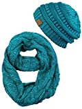C.C Unisex Soft Stretch Chunky Cable Knit Beanie and Infinity Loop Scarf Set, Teal Metallic